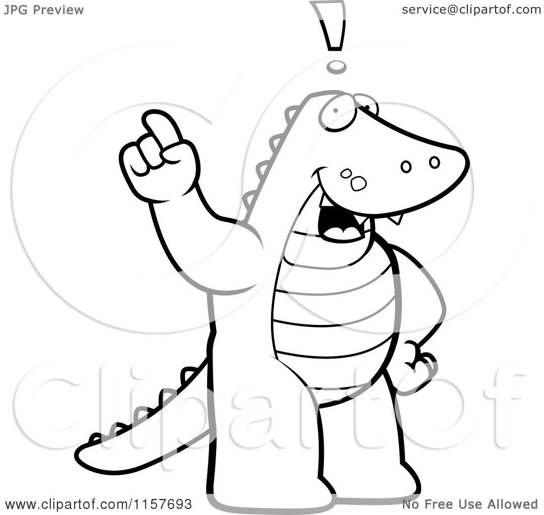 cartoon clipart of a black and white exclaiming alligator vector