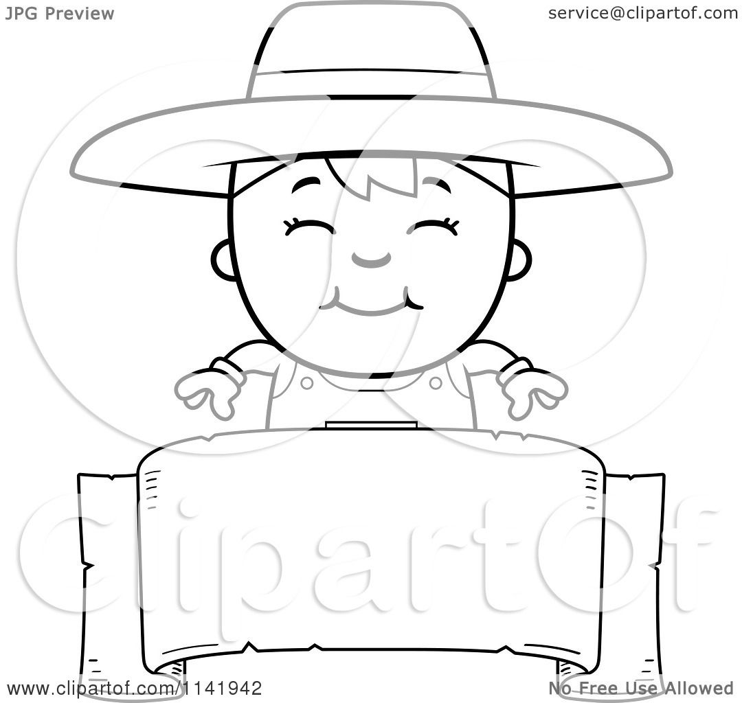 Cartoon Clipart Of A Black And White Farmer Boy Over A ...