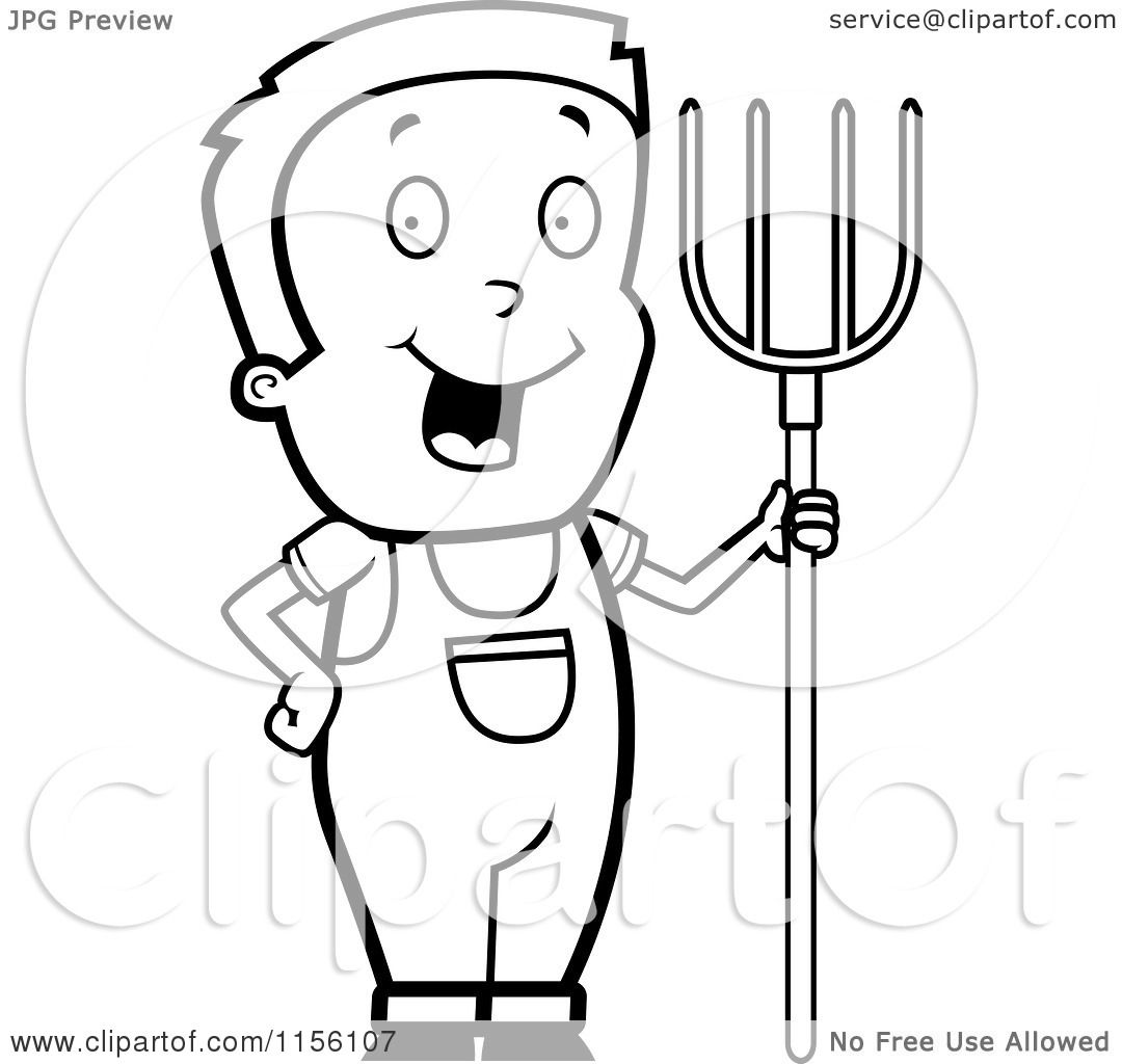 Cartoon Clipart Of A Black And White Farmer Boy with a ...