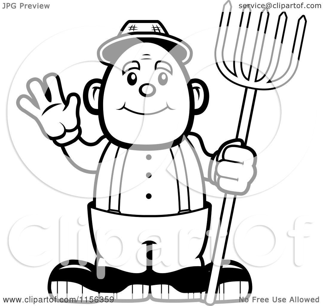 Cartoon Clipart Of A Black And White Farmer Waving ...