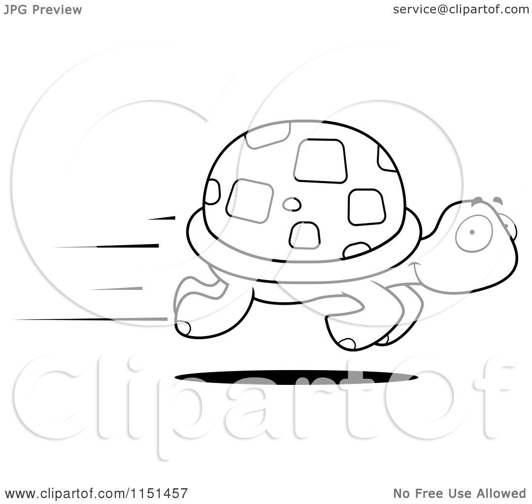 Cartoon Clipart Of A Black And White Fast Turtle Speeding by