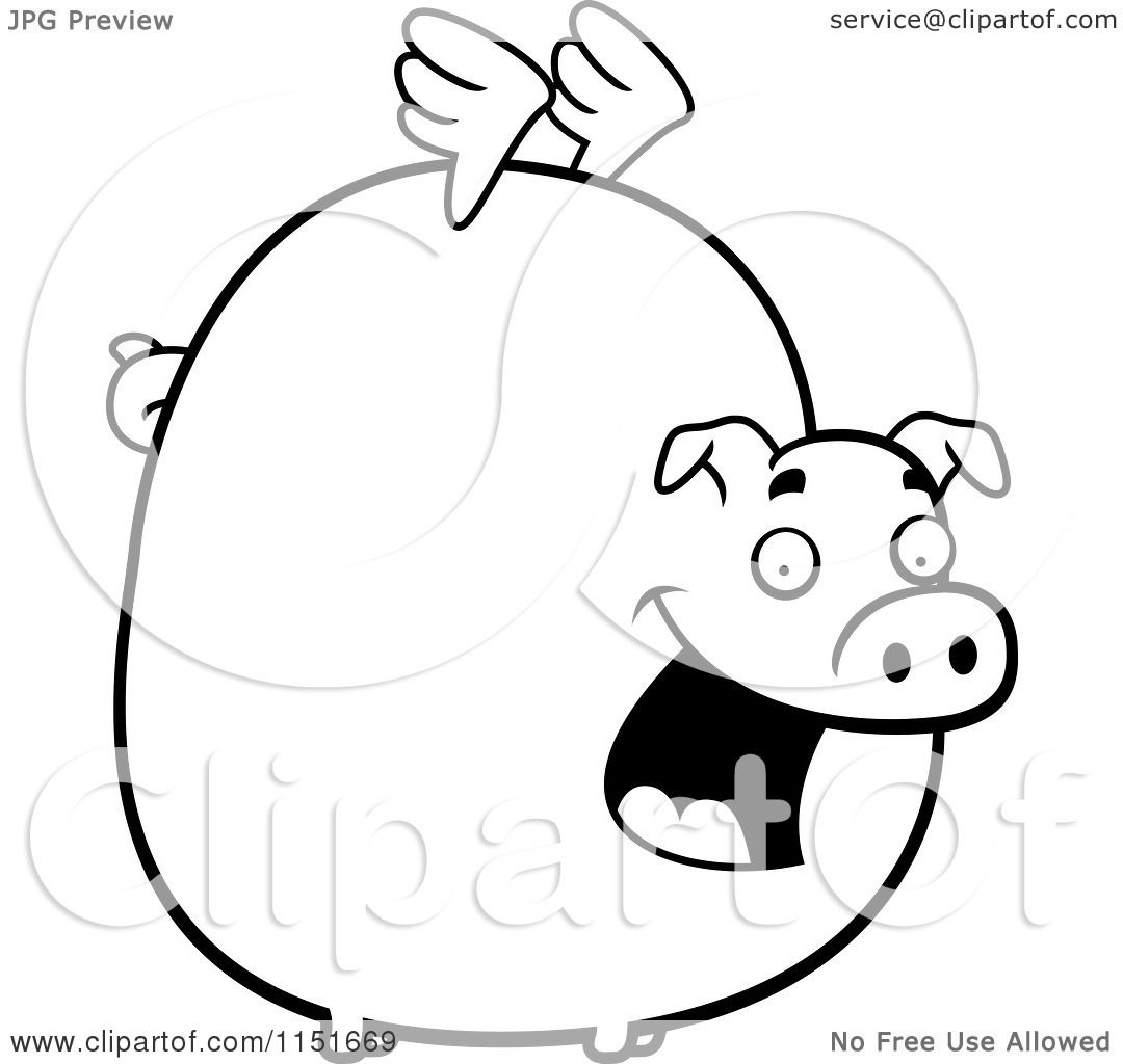 Cartoon clipart of a black and white fat flying pig with for Flying pig coloring pages