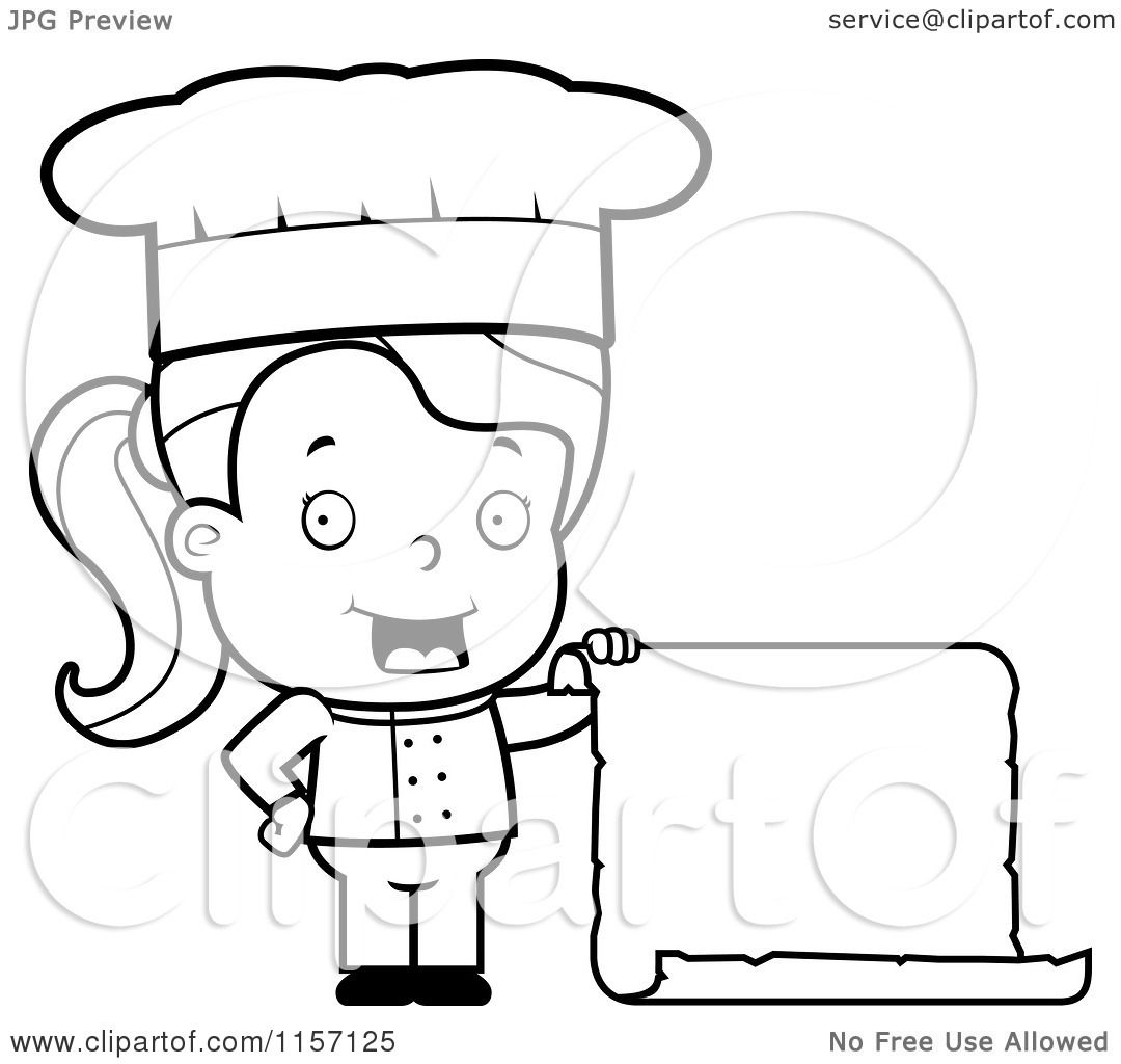 Cartoon Clipart Of A Black And White Female Toddler Chef Holding a