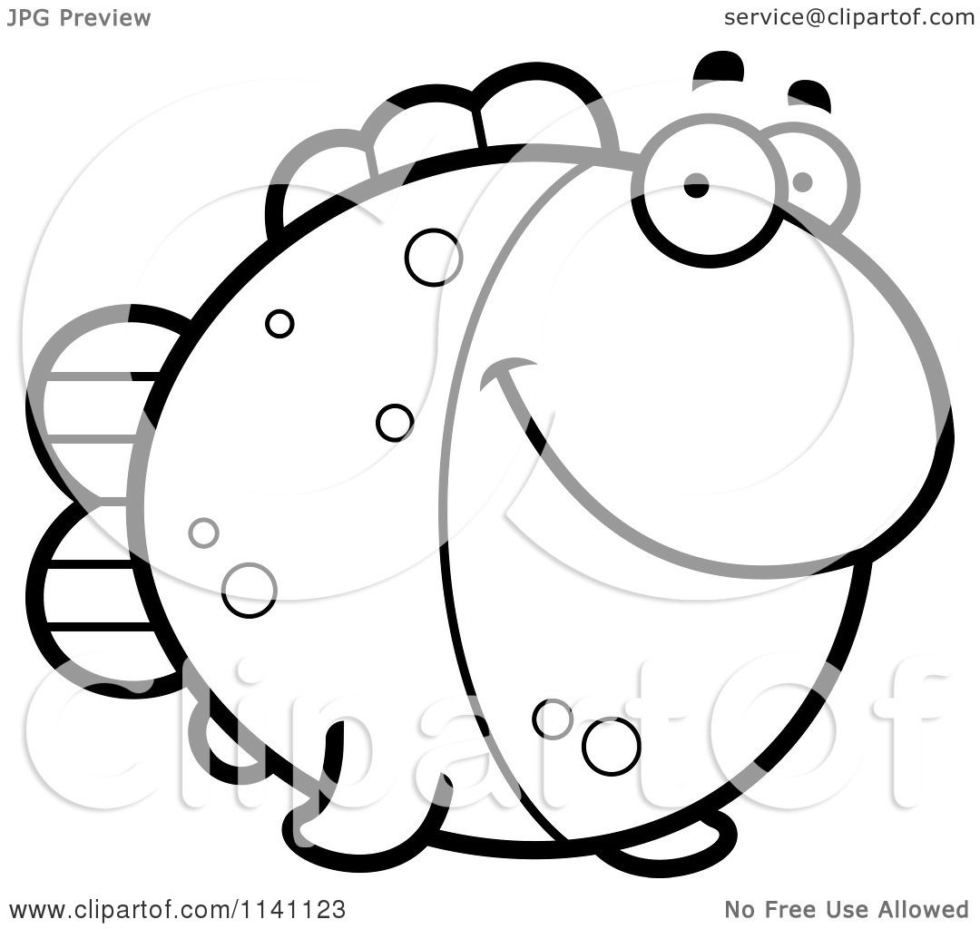 cartoon clipart of a black and white fish vector outlined