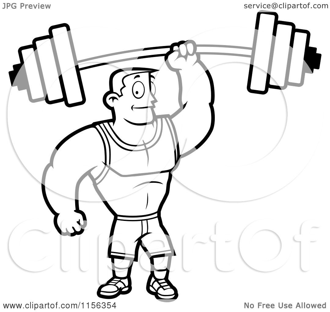 Cartoon Clipart Of A Black And White Fitness Man Holding ...