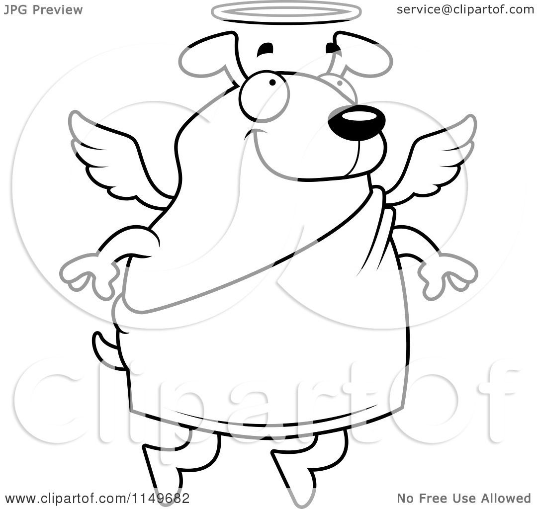 cartoon angel coloring pages | Cartoon Clipart Of A Black And White Floating Angel Dog ...