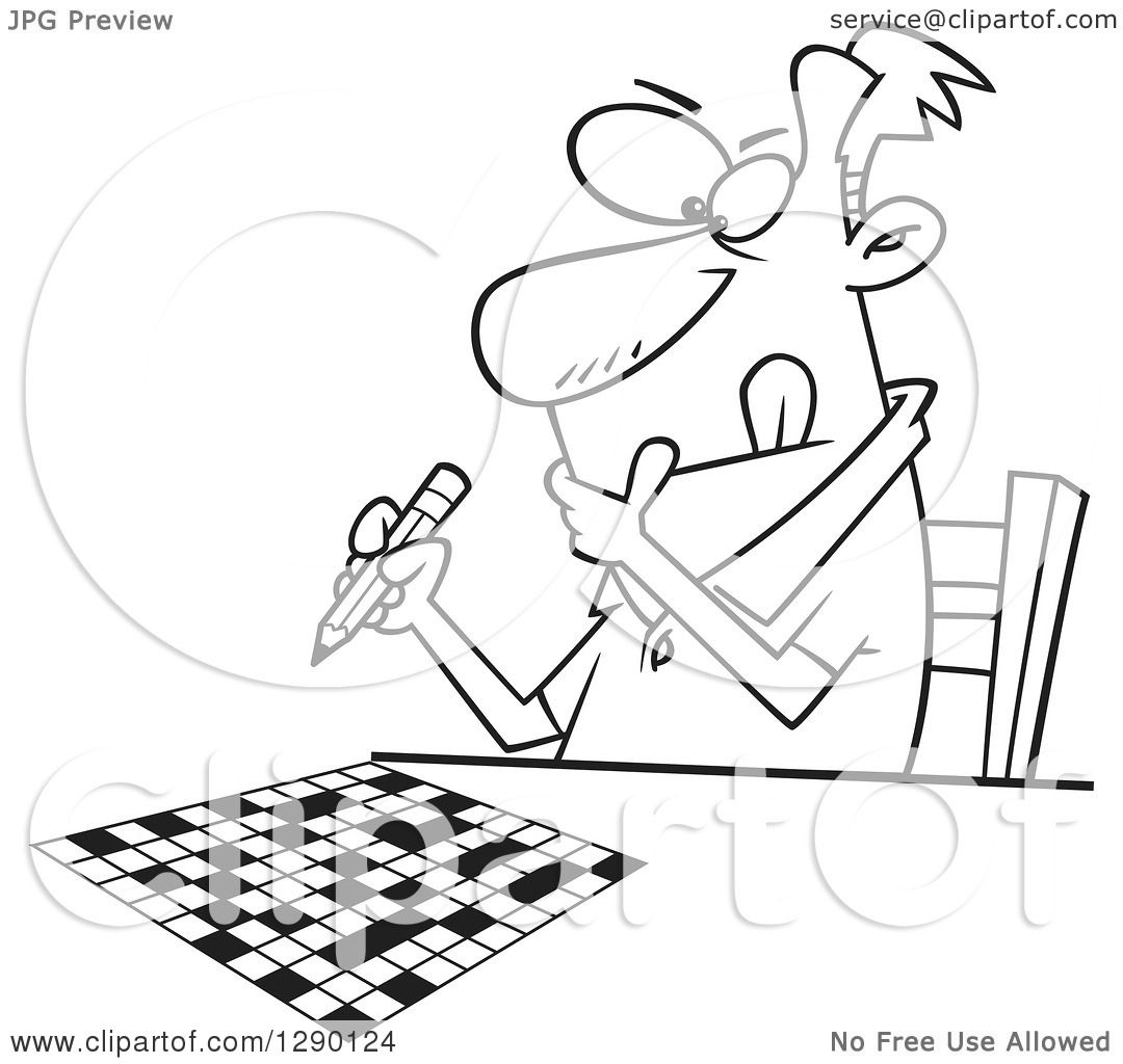 Cartoon Clipart Of A Black And White Focused Man Working On Crossword Puzzle