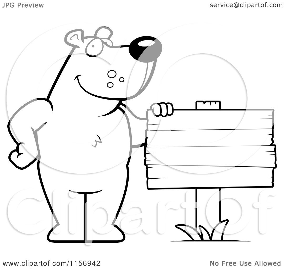 Cartoon standing bear coloring pages ~ Cartoon Clipart Of A Black And White Friendly Bear ...