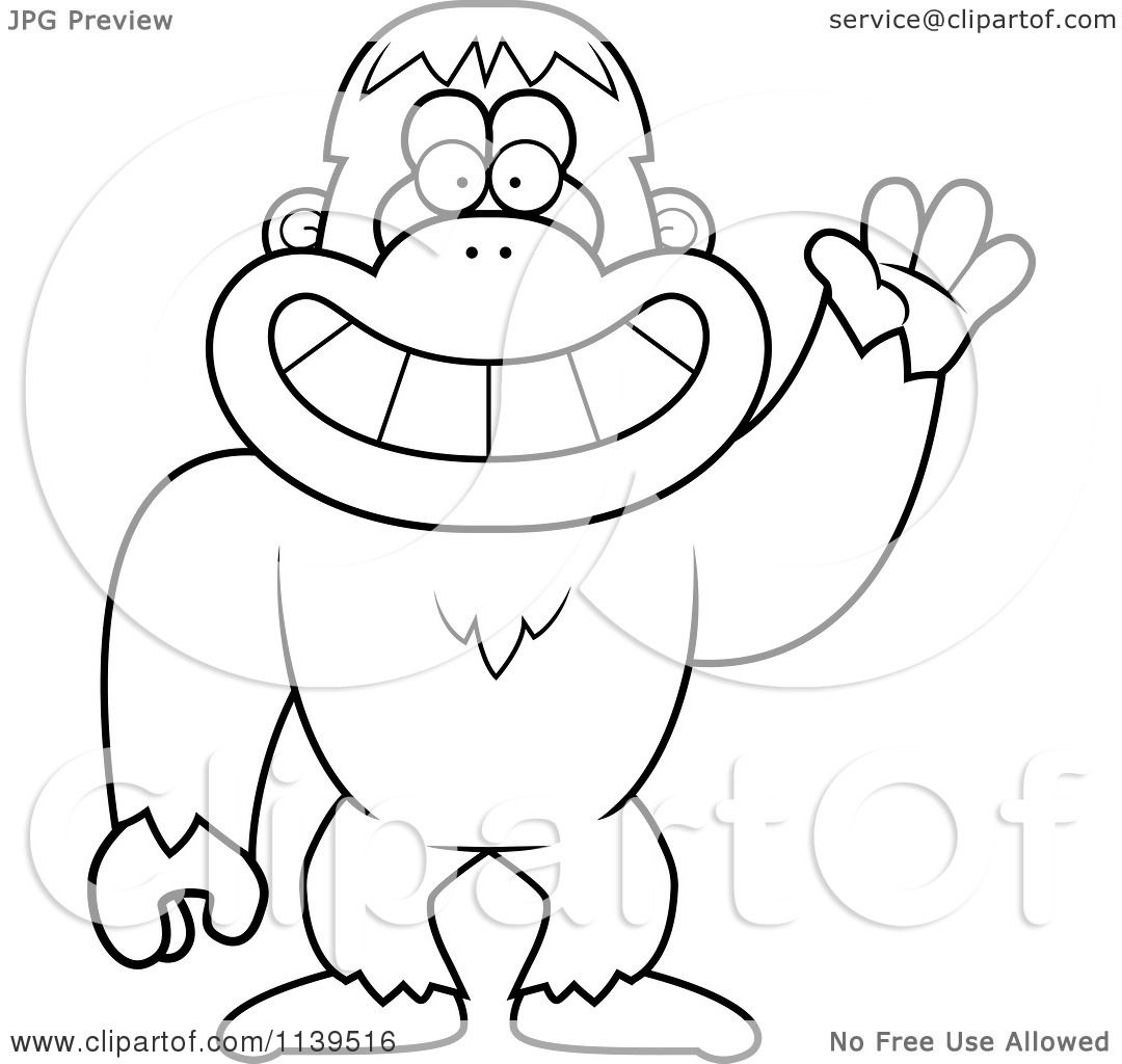 Cartoon Clipart Of A Black And White Friendly Waving ...