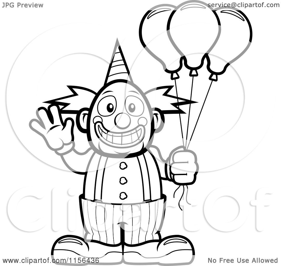 Elephant Holding Balloons Coloring
