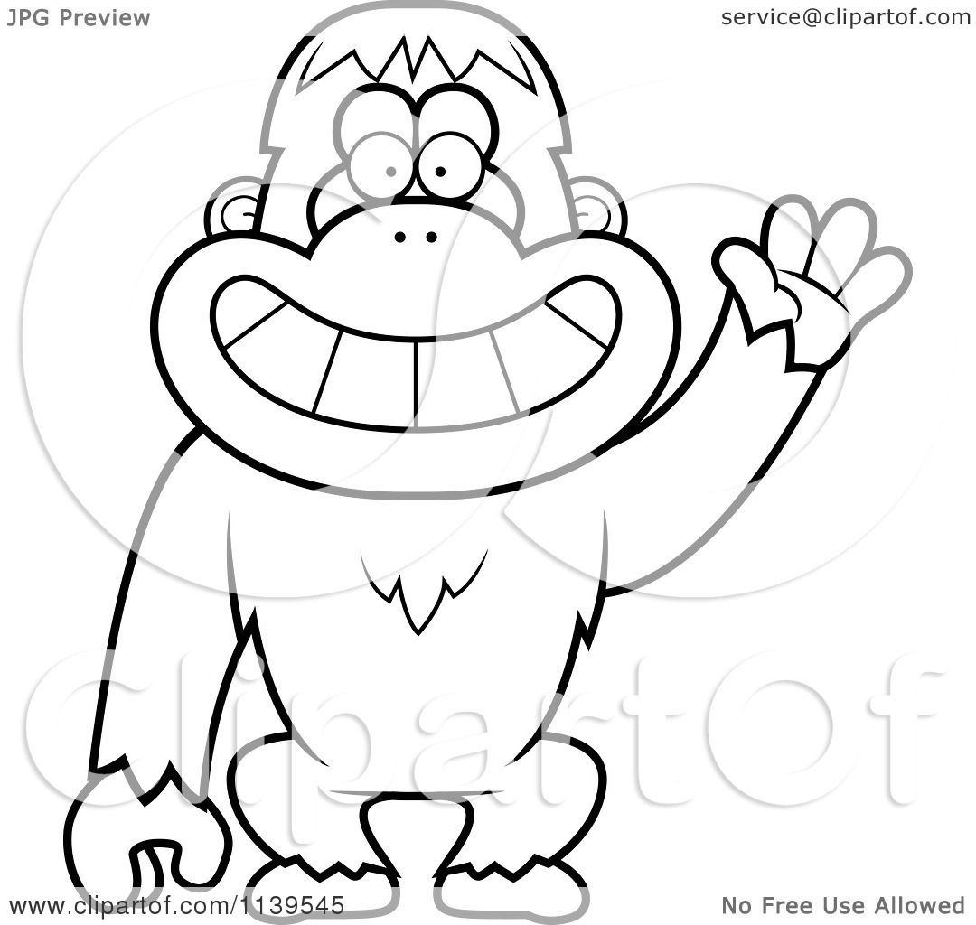 Clip Art Orangutan Coloring Pages cartoon clipart of a black and white friendly waving orangutan monkey vector outlined coloring page by cory thoman