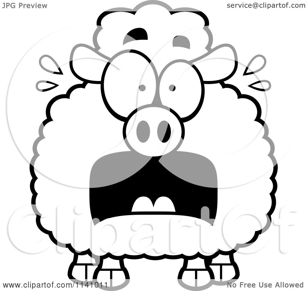 cartoon clipart of a black and white frightened sheep vector