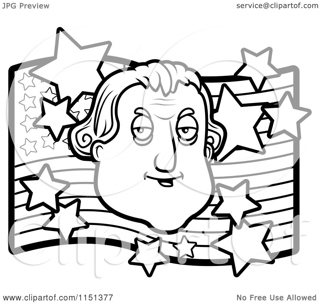 Free coloring page george washington - Cartoon Clipart Of A Black And White George Washington Over An American Flag Vector Outlined Coloring Page By Cory Thoman