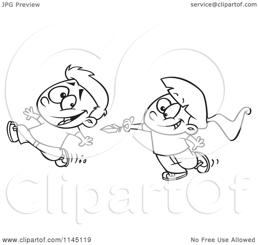 cartoon clipart of a black and white chasing a boy to tickle