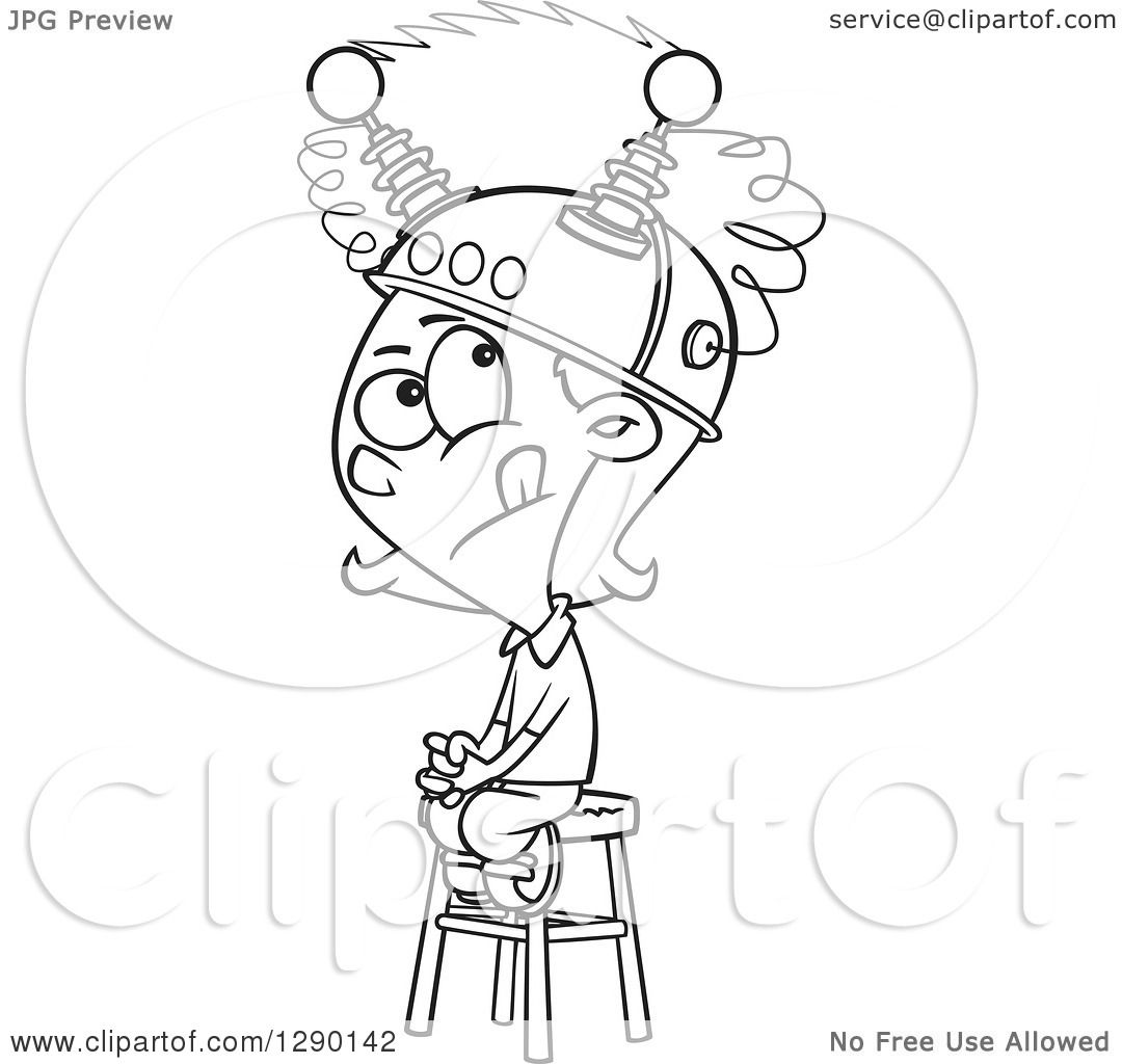 Cartoon Clipart Of A Black And White Girl Sitting On A -7047