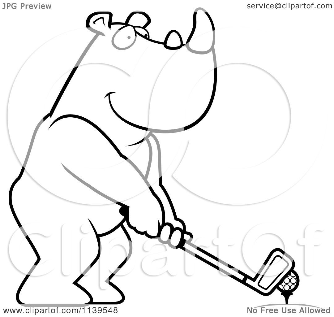 cartoon clipart of a black and white golfing rhino holding the