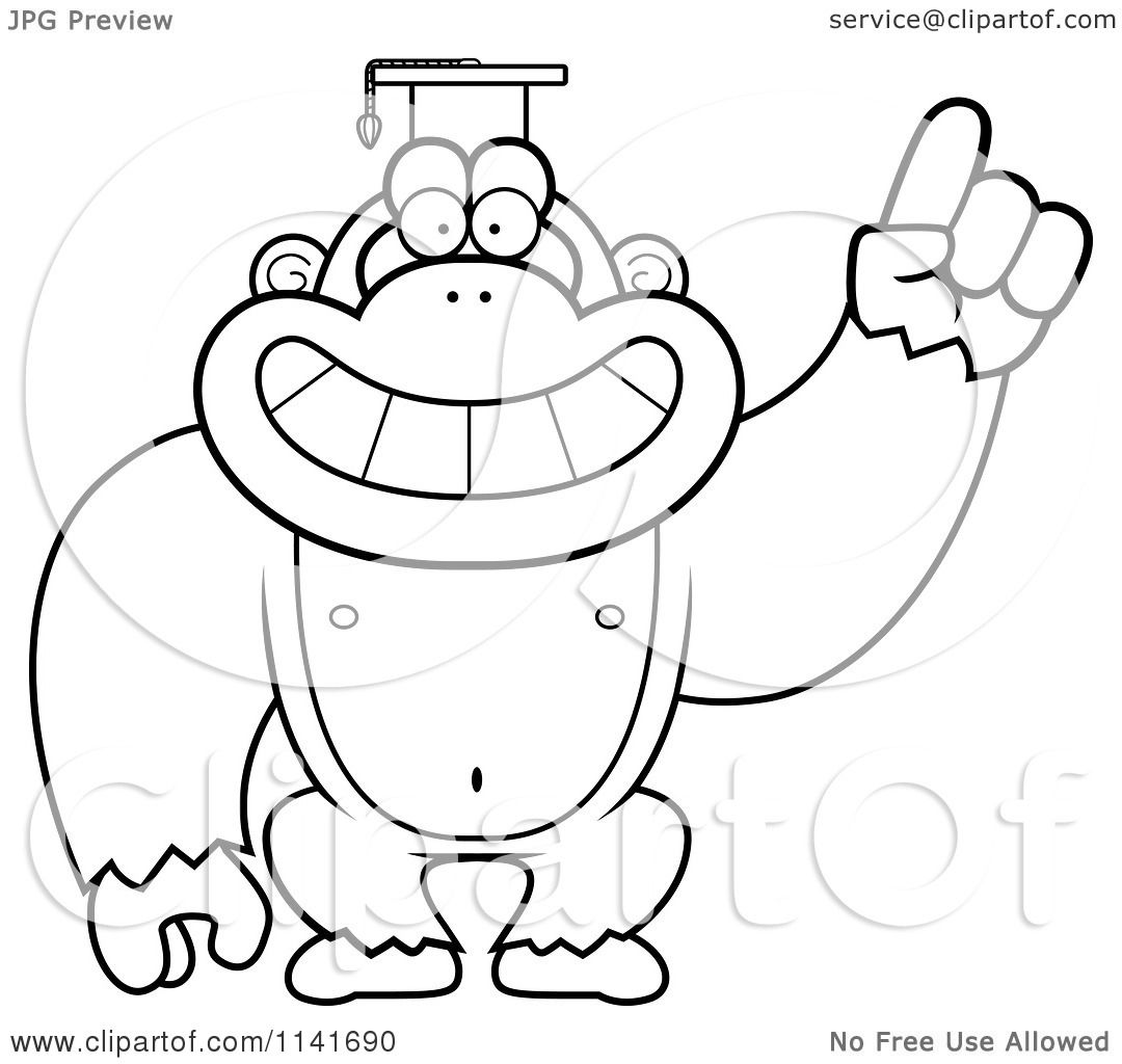 cartoon clipart of a black and white gorilla professor wearing a