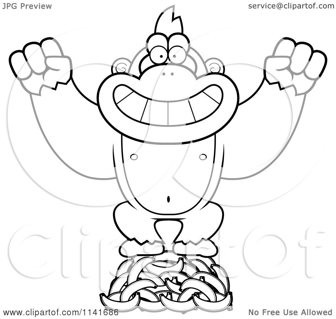 Coloring pages gorilla - Cartoon Clipart Of A Black And White Gorilla Standing On Bananas Vector Outlined Coloring Page By Cory Thoman