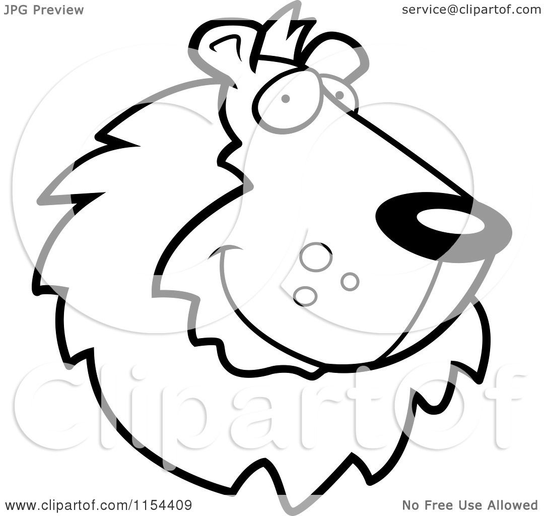 cartoon clipart of a black and white handsome lion face vector