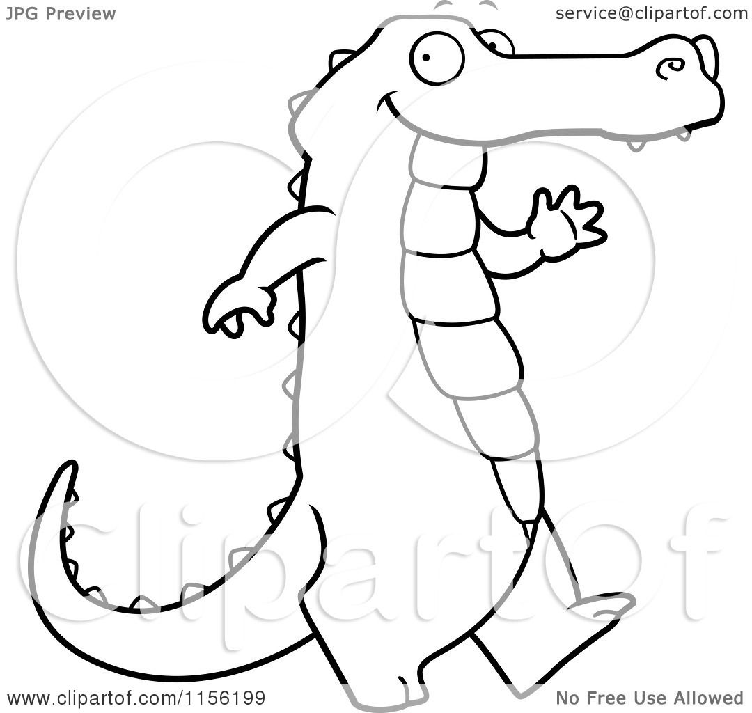 Cartoon Clipart Of A Black And White Happy Alligator ... - photo#22
