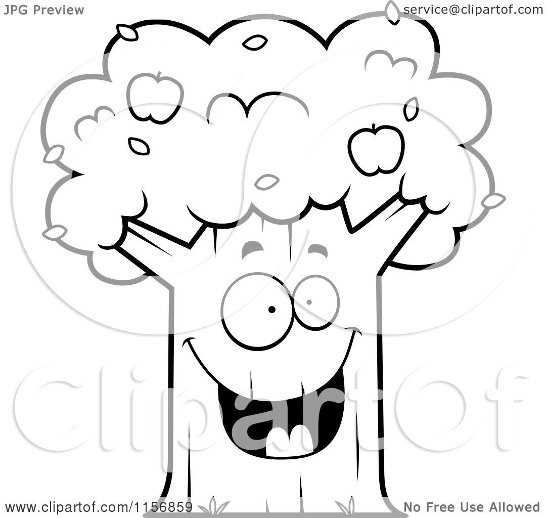 apple tree clipart black and white. cartoon clipart of a black and white happy apple tree - vector outlined coloring page by cory thoman b