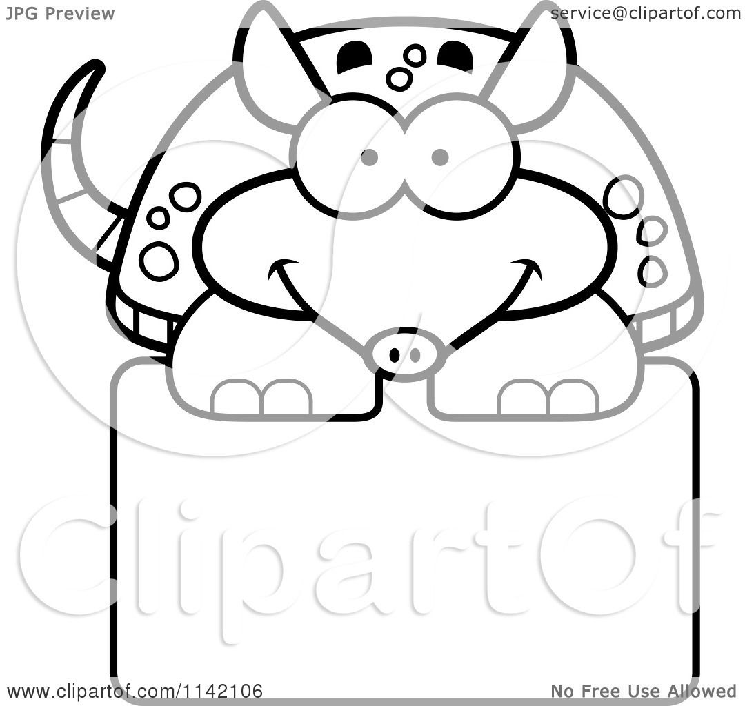 cartoon clipart of a black and white happy armadillo over a sign - Armadillo Coloring Pages Print