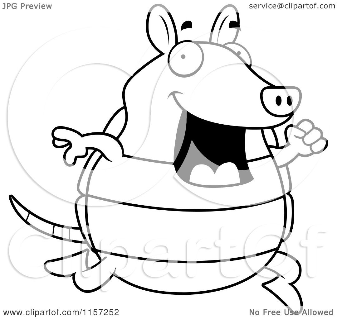 Cartoon Clipart Of A Black And White Happy Armadillo Running