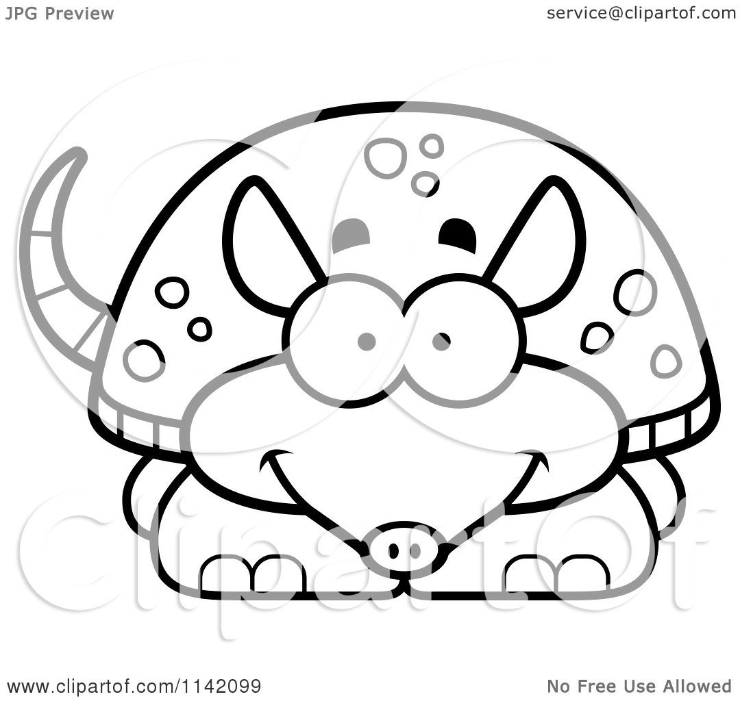 Clip Art Armadillo Coloring Pages cartoon clipart of a black and white happy armadillo vector outlined coloring page by cory thoman