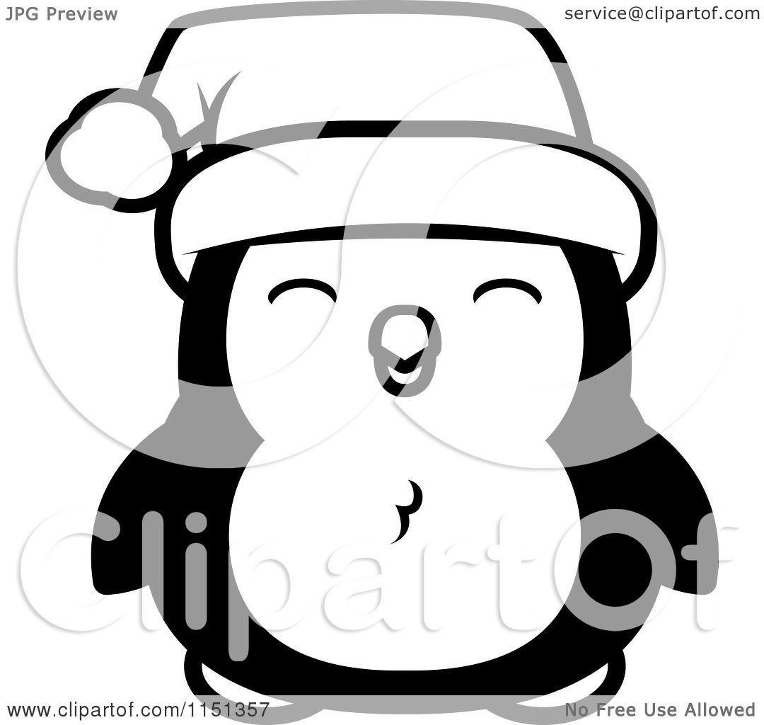 Coloring Sheets Penguins - Cartoon clipart of a black and white happy baby christmas penguin vector outlined coloring page by cory thoman