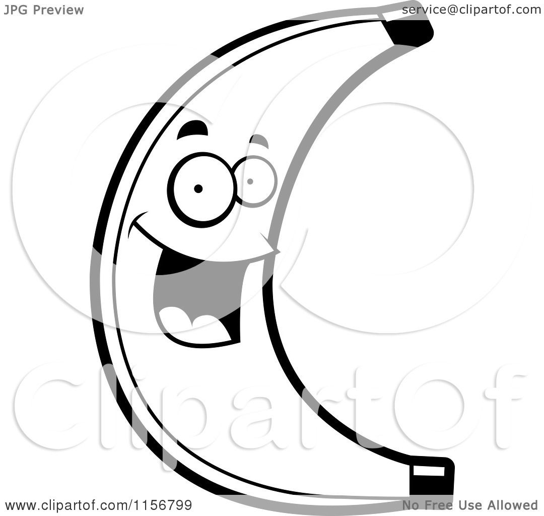 Cartoon Clipart Of A Black And White Happy Banana Character - Vector Outlined Coloring -1026