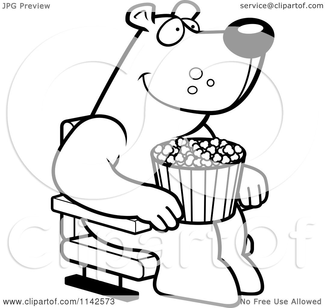 Free coloring pages of stage curtains - Cartoon Clipart Of A Black And White Happy Bear With Popcorn At The Movie Theater Vector Outlined Coloring Page By Cory Thoman