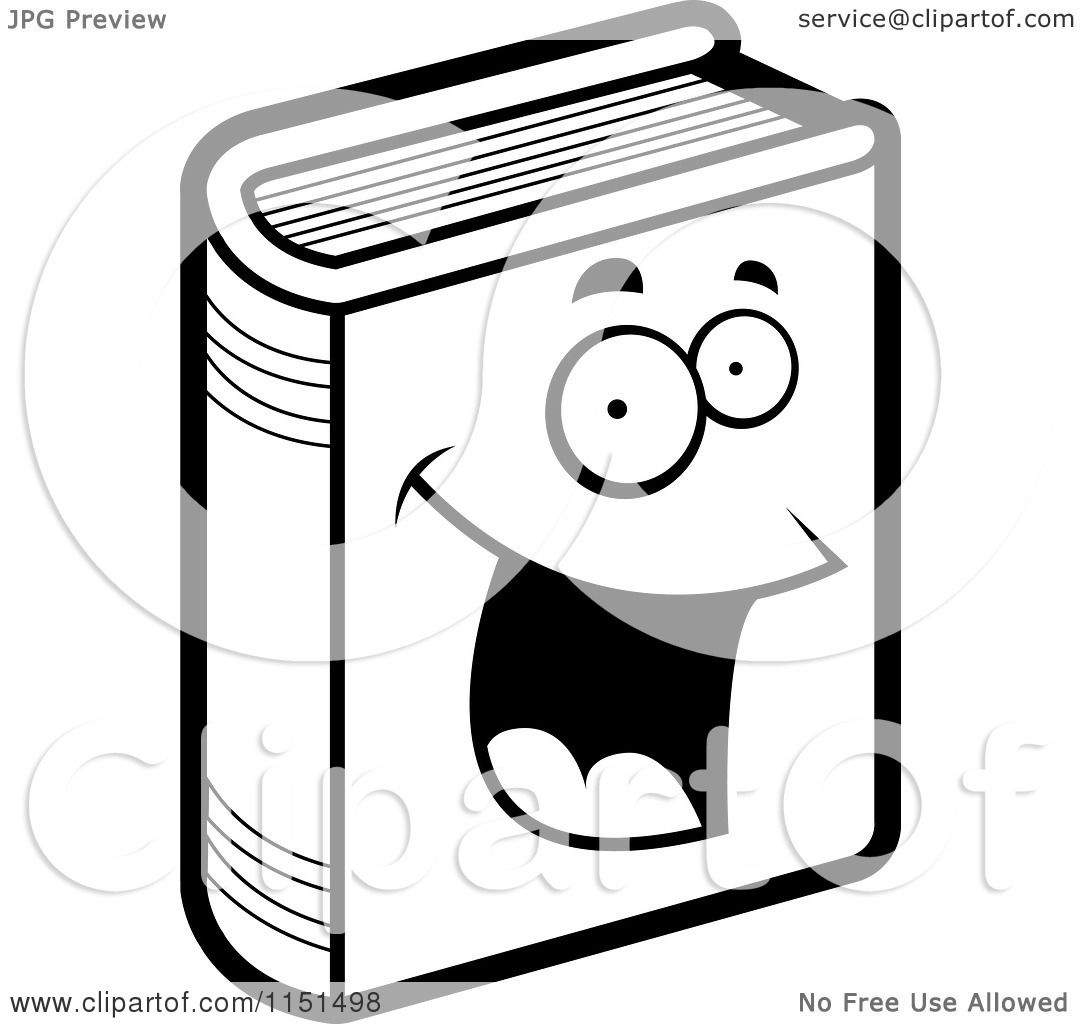 Cartoon Clipart Of A Black And White Happy Book Vector