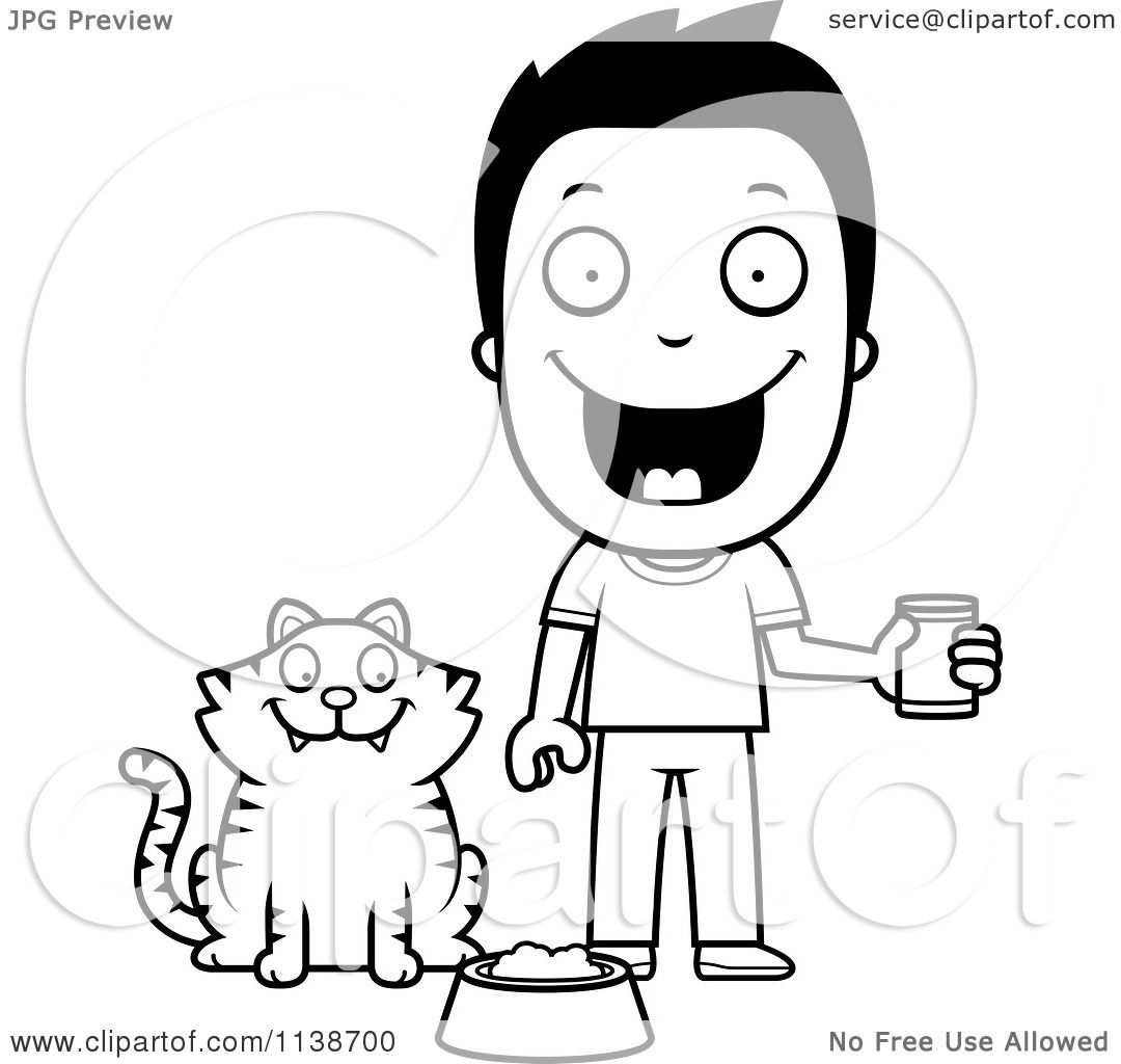 Cartoon Clipart Of A Black And White Happy Boy Feeding His Cat Vector Outlined Coloring Page By Cory Thoman
