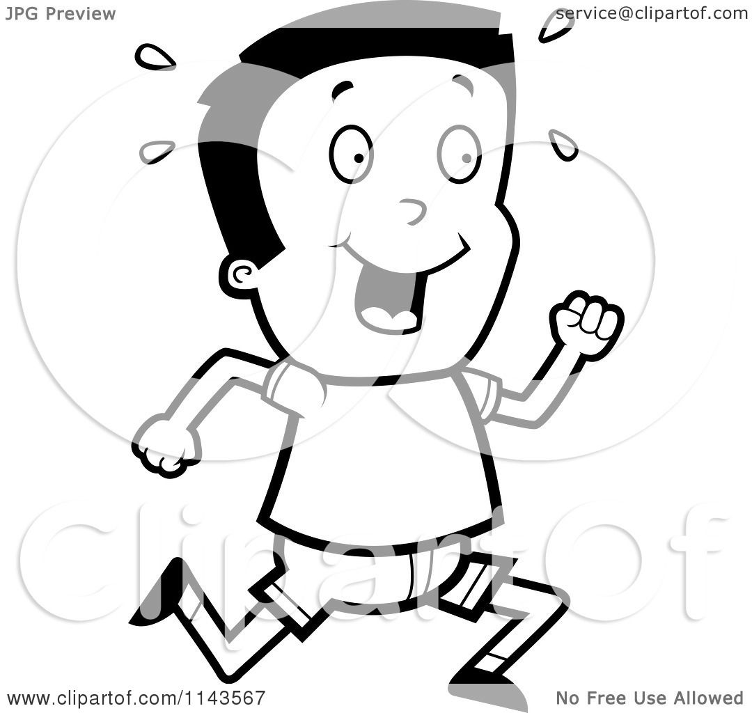 Cartoon Clipart Of A Black And White Happy Boy Running ...