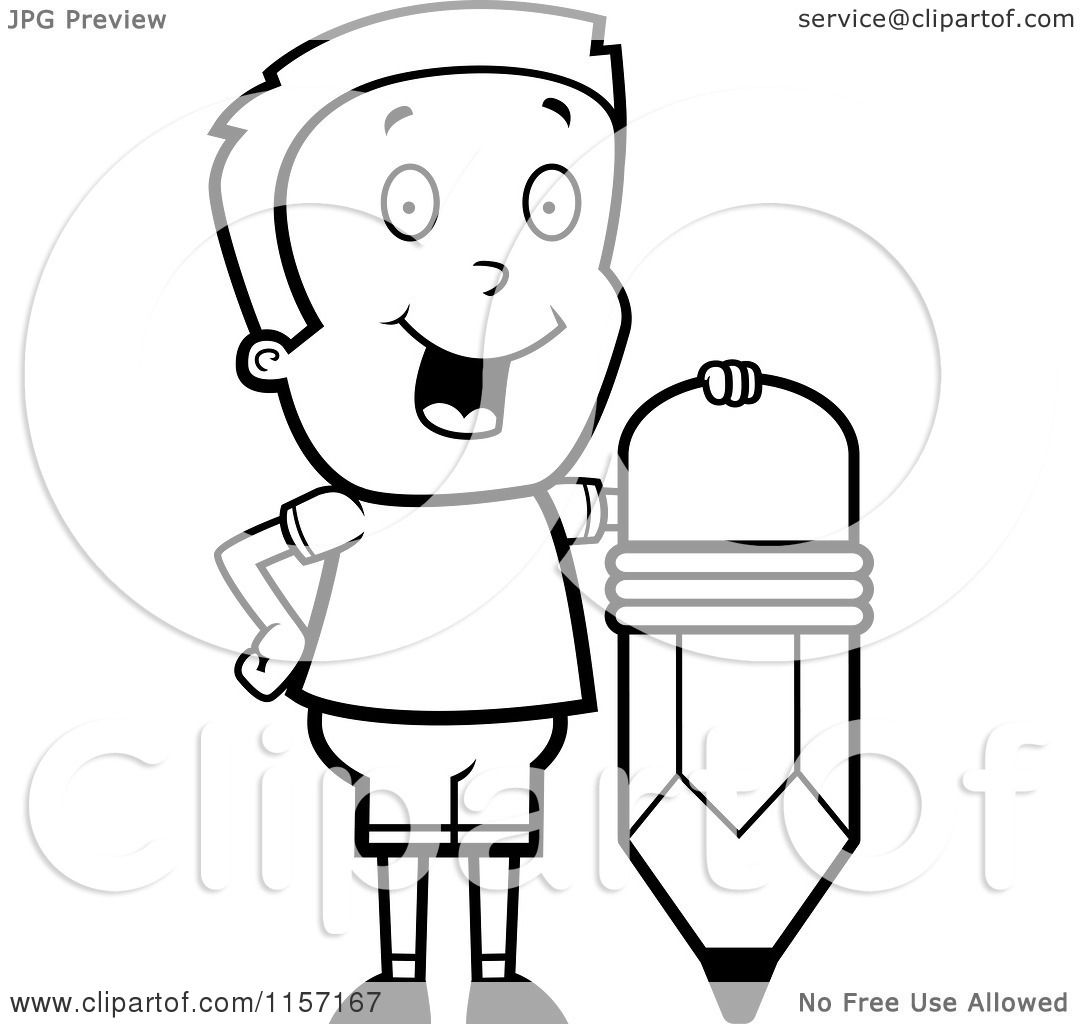 Cartoon Clipart Of A Black And White Happy Boy Standing By Pencil
