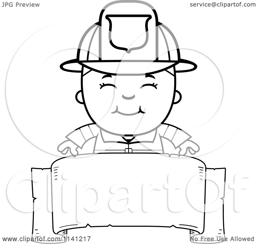 cartoon clipart of a black and white happy fire fighter boy over a
