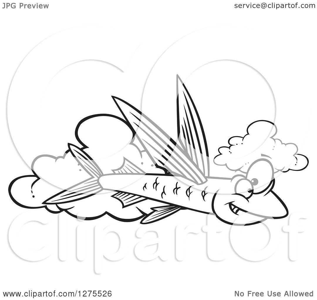 Cartoon Clipart of a Black and White Happy Flying Fish over Clouds ...