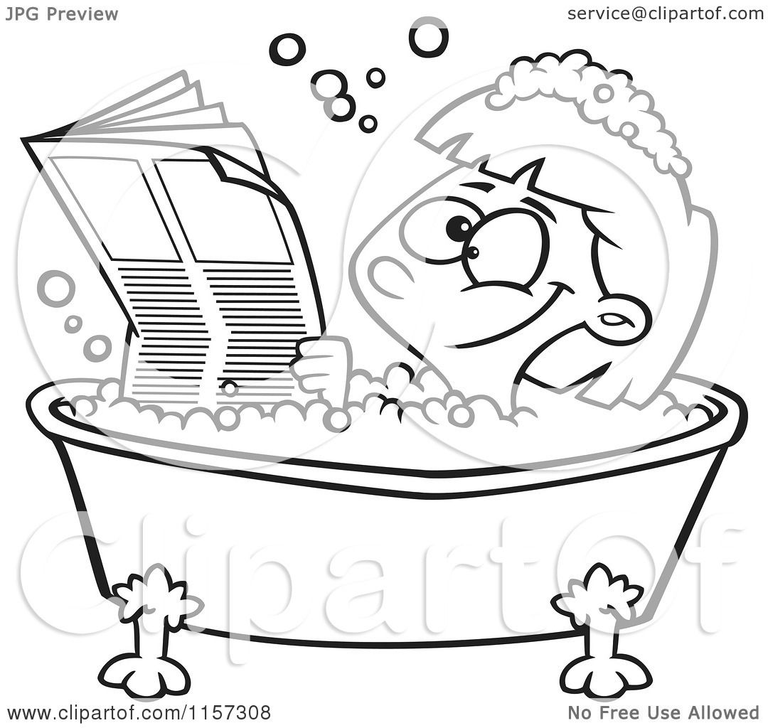 cartoon clipart of a black and white happy girl reading the newspaper in a bath tub vector. Black Bedroom Furniture Sets. Home Design Ideas