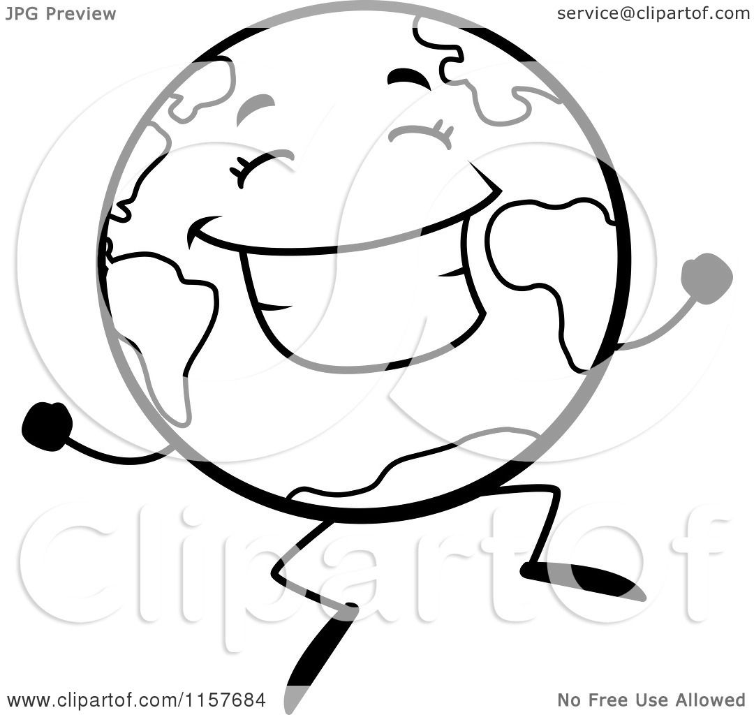 Cartoon Clipart Of A Black And White Happy Globe Character ...