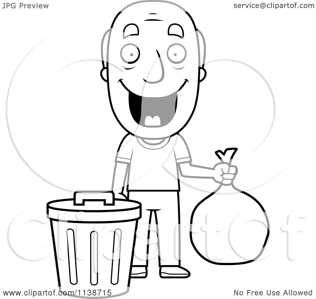 cartoon clipart of a black and white happy grandpa taking out the
