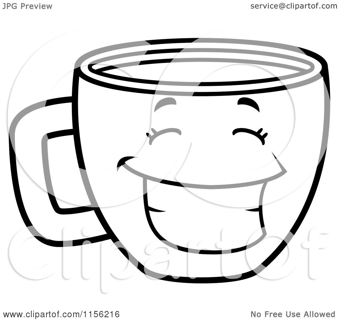 Cartoon Clipart Of A Black And White Happy Grinning Coffee Cup ...