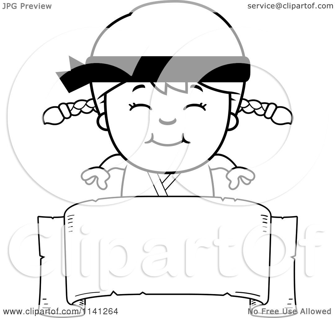 Free coloring pages karate - Cartoon Clipart Of A Black And White Happy Martial Arts Karate Girl Over A Banner Sign Vector Outlined Coloring Page By Cory Thoman
