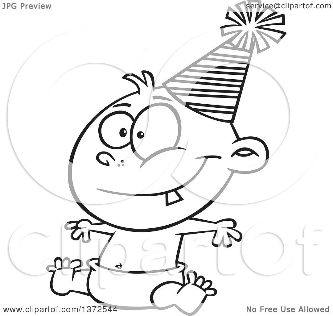 Cartoon Clipart of a Black and White Happy New Year Baby ...