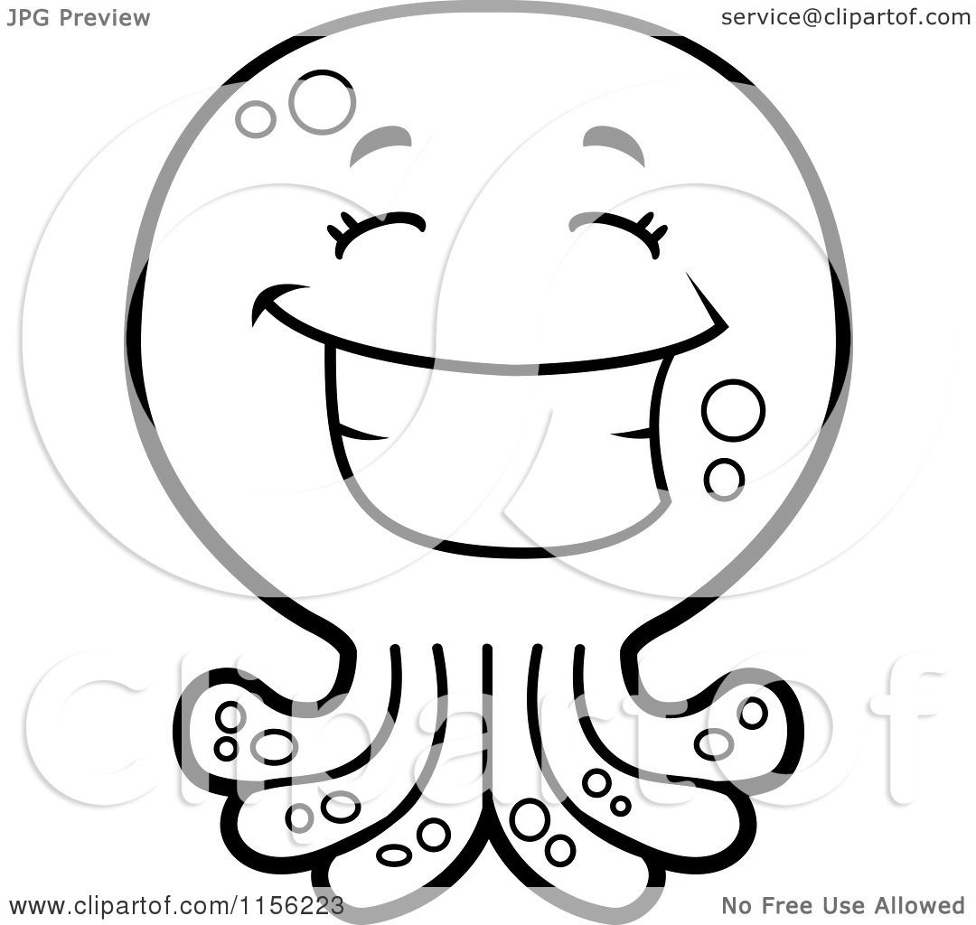Cartoon Clipart Of A Black And White Happy Octopus Character - Vector Outlined -4626