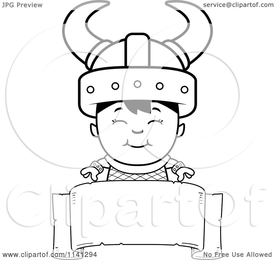 cartoon clipart of a black and white happy ogre viking boy over a