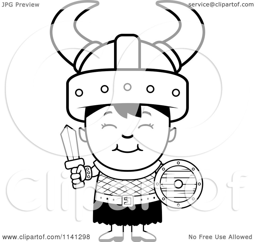Printable coloring pages vikings - Cartoon Clipart Of A Black And White Happy Ogre Viking Boy With A Sword And Shield Vector Outlined Coloring Page By Cory Thoman