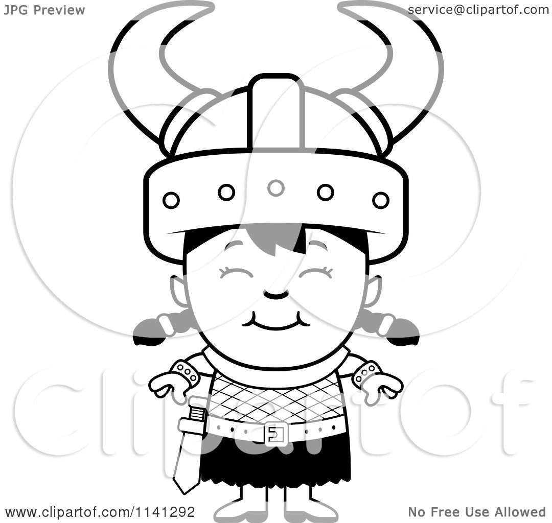 cartoon clipart of a black and white happy ogre viking girl vector outlined coloring page by cory thoman