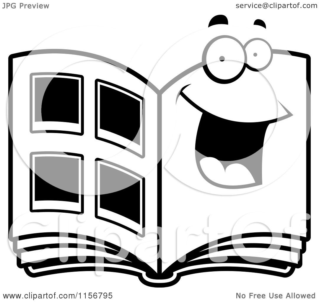 Cartoon clipart of a black and white happy photo album Coloring book album download