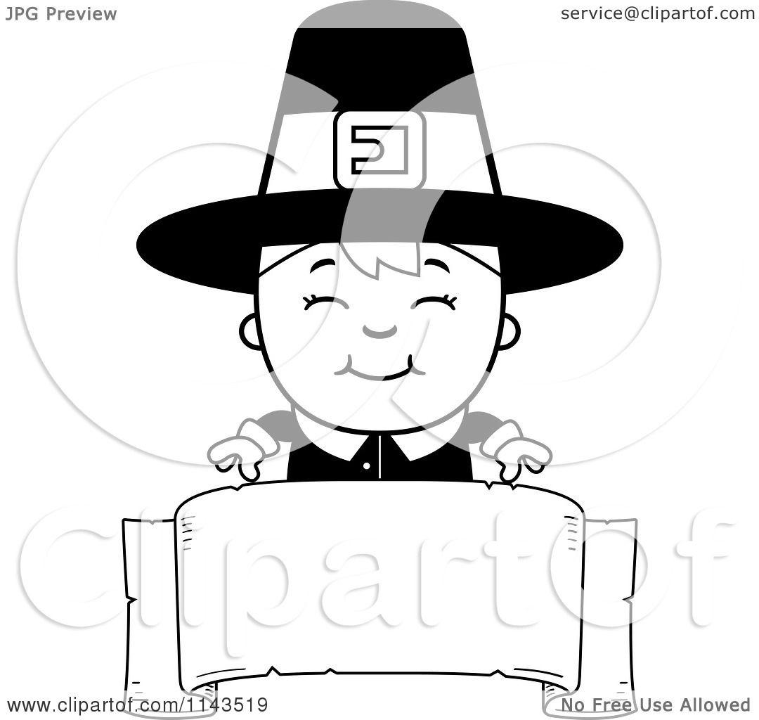 Cartoon Clipart Of A Black And White Happy Pilgrim Boy ...