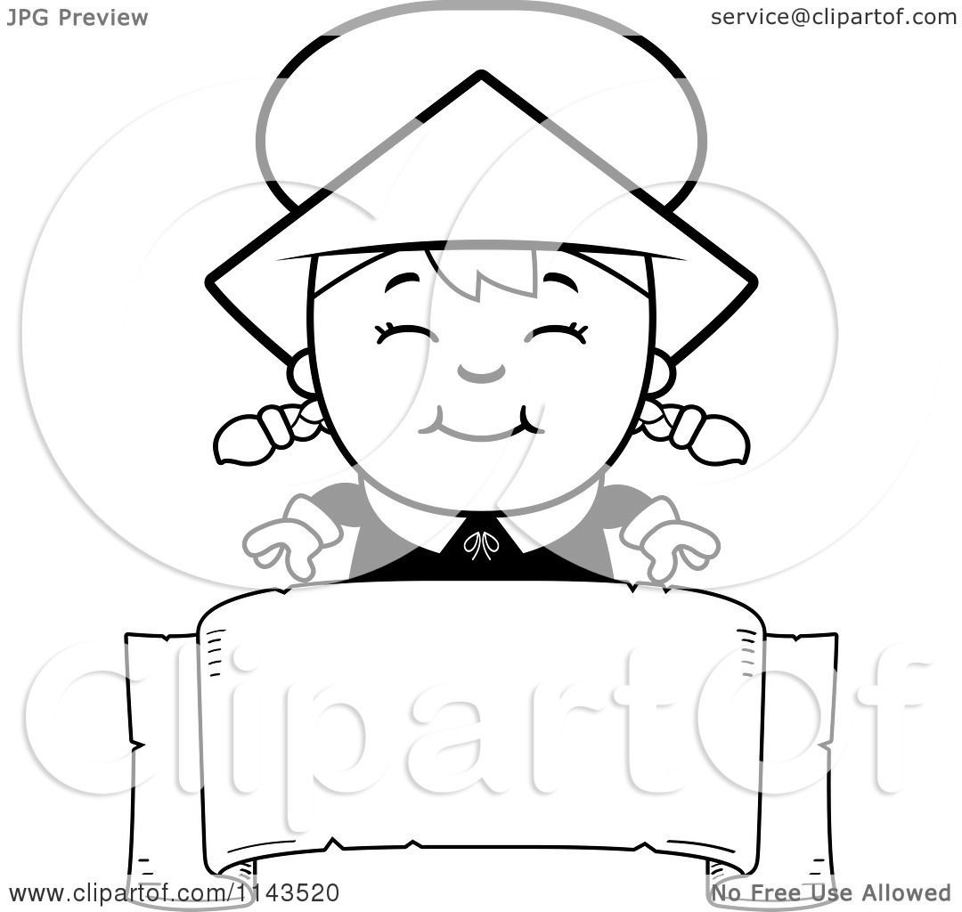 cartoon clipart of a black and white happy pilgrim over a